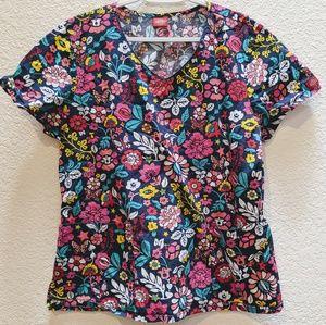 2/$15 Dickies scrub top black background w/pink
